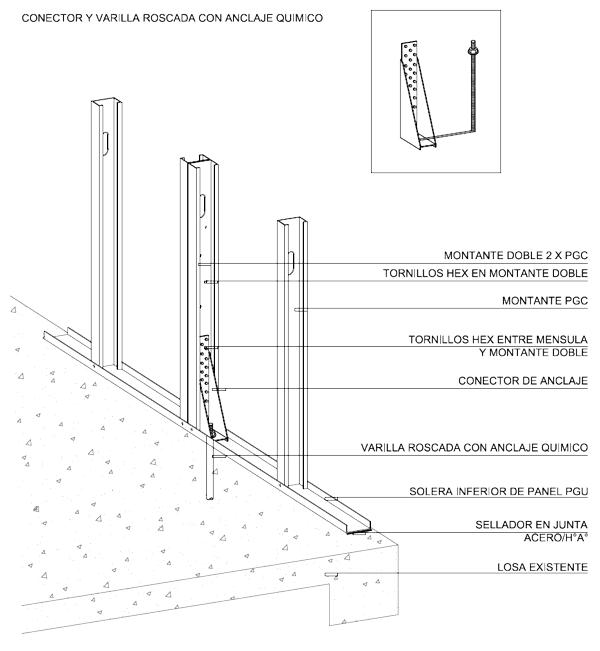 Baño Quimico Medidas:Detalle constructivo de la ménsula HTT14 y anclajes químicos con